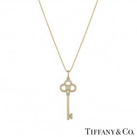 Tiffany & Co. Yellow Gold Diamond Crown Key Pendant